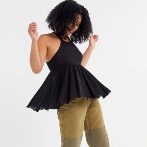 UO CLEMENTINE THERMAL HIGH-NECK BABYDOLL TANK TOP